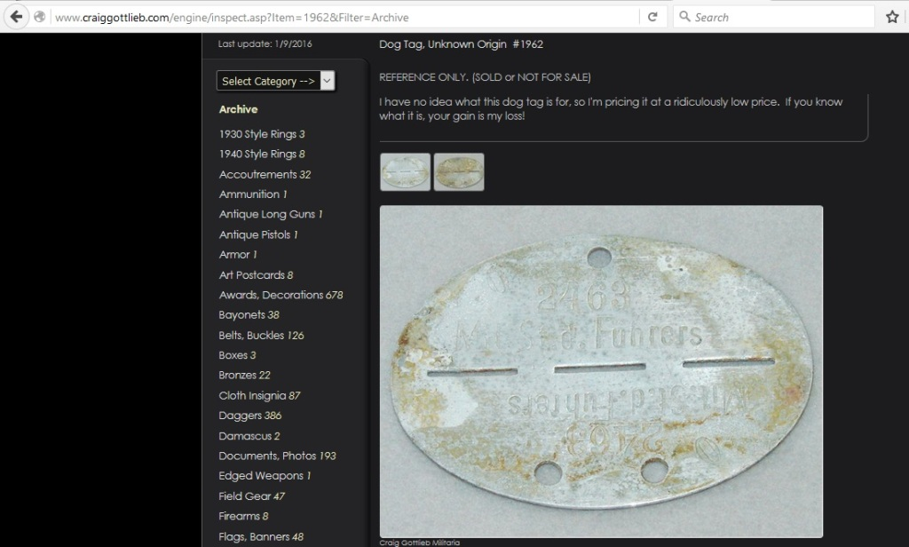 Dog Tag, Unknown Origin, [Listing] 1962, History Hunter For Sale, no date