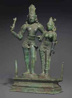 A bronze figure of Shiva and Parvati.  The Lahiri Collection: Indian and Himalayan Art, Ancient and Modern, Lot 60, Sale 12255, Christie's, New York, USA, 15th March 2016.