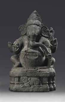 A granite figure of a seated Ganesha. Indian, Himalayan and Southeast Asian Works of Art, Lot 294, Sale 12168, Christie's, New York, USA, 15th March 2016.