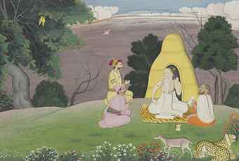An illustration from a Devi Mahatmya series: Suratha and Samadhi seek advice from Medhas. Lot 302, Sale 12168, Indian, Himalayan and Southeast Asian Works of Art, Christie's, New York, USA, 15th March 2016.