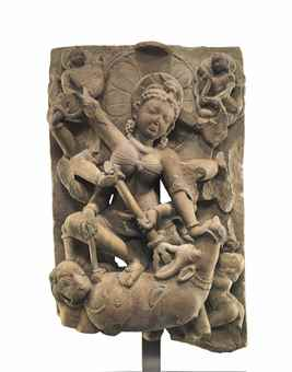 A sandstone relief of Durga Mahishasuramardini. Indian, Himalayan and Southeast Asian Works of Art, Lot 284, Sale 12168, Christie's, New York, USA, 15th March 2016.