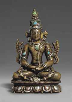 An important silver-and-copper-inlaid bronze figure of Buddha Amitabha. The Lahiri Collection: Indian and Himalayan Art, Ancient and Modern, Lot 57, Sale 12255, Christie's, New York, USA, 15th March 2016.
