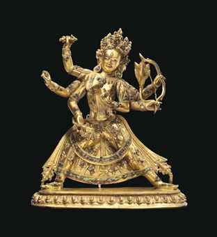 A gilt bronze figure of Parnashavari. Indian, Himalayan and Southeast Asian Works of Art, Lot 256, Sale 12168, Christie's, New York, USA, 15th March 2016.