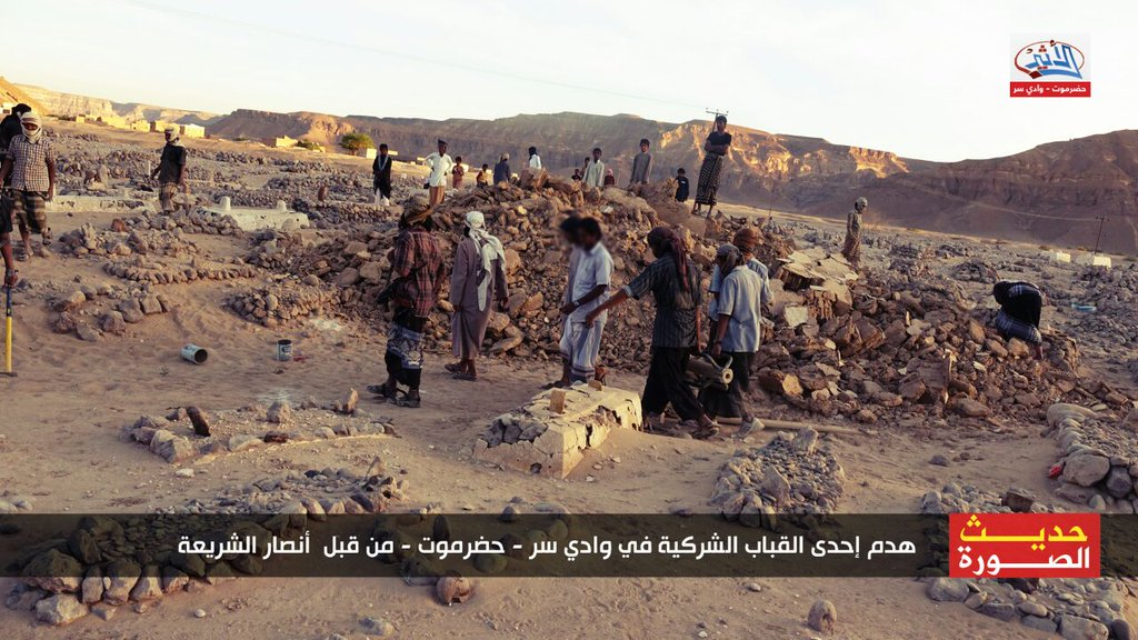 destruction of shrine in Hadhramaut, Yemen, by Ansar al-Sharia (c) wkalh22501, Twitter, 7.35am, 30th January 2016 (e)