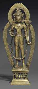 A bronze figure of Padmapani. The Lahiri Collection: Indian and Himalayan Art, Ancient and Modern, Lot 53, Sale 12255, Christie's, New York, USA, 15th March 2016.