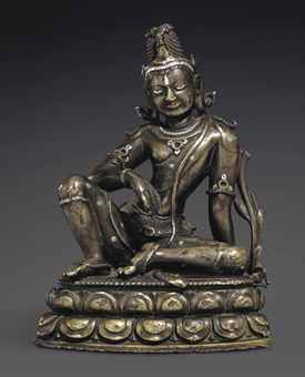 A fine and rare silver-and-copper-inlaid bronze figure of Maitreya. The Lahiri Collection: Indian and Himalayan Art, Ancient and Modern, Lot 59, Sale 12255, Christie's, New York, USA, 15th March 2016.