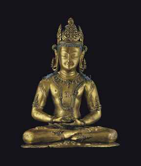 A rare and highly important gilt bronze figure of Kunzang Akhor. Indian, Himalayan and Southeast Asian Works of Art, Lot 244, Sale 12168, Christie's, New York, USA, 15th March 2016.