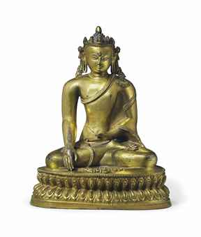 A gilt bronze figure of Shakyamuni. Indian, Himalayan and Southeast Asian Works of Art, Lot 268, Sale 12168, Christie's, New York, USA, 15th March 2016.