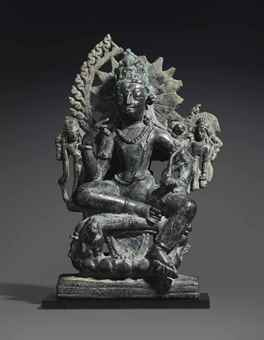 A rare bronze figure of Avalokiteshvara. The Lahiri Collection: Indian and Himalayan Art, Ancient and Modern, Lot 50, Sale 12255, Christie's, New York, USA, 15th March 2016.