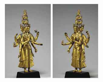 A gilt bronze figure of an eleven-headed Avalokiteshvara. Indian, Himalayan and Southeast Asian Works of Art, Lot 250, Sale 12168, Christie's, New York, USA, 15th March 2016.