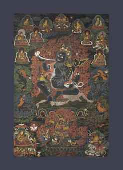 An important black ground painting of Mahakala Brahmanarupa. Indian, Himalayan and Southeast Asian Works of Art, Lot 201, Sale 12168, Christie's, New York, USA, 15th March 2016.