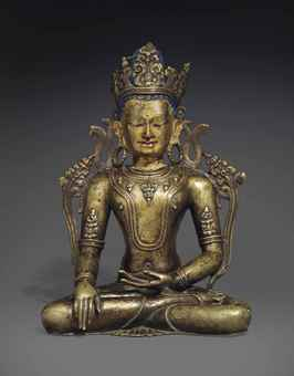 An important silver-and-copper-inlaid bronze figure of Akshobhya. The Lahiri Collection: Indian and Himalayan Art, Ancient and Modern, Lot 69, Sale 12255, Christie's, New York, USA, 15th March 2016.
