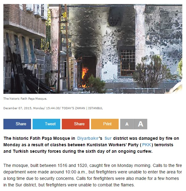 Historic mosque falls victim to clashes in Diyarbakır, damaged by fire (c) Today's Zaman, 7th December 2015