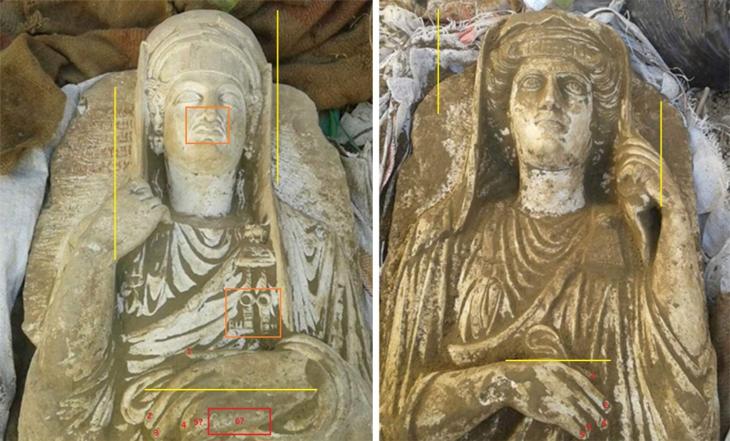 Never–before published images of two recently excavated Palmyrene statues about to be sold during an ISIS public antiquities auction in Raqqa (c) Day After Heritage Protection Initiative, NBC News, 6th April 2016